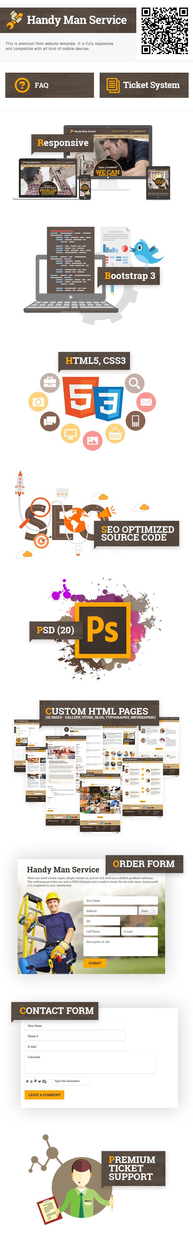 Presentation for Handy Man Service html5 website template