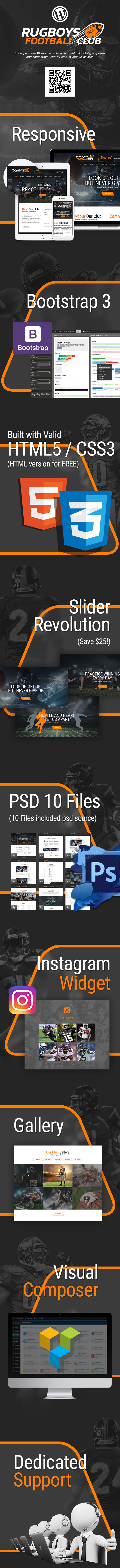 Presentation for American Football WordPress Template