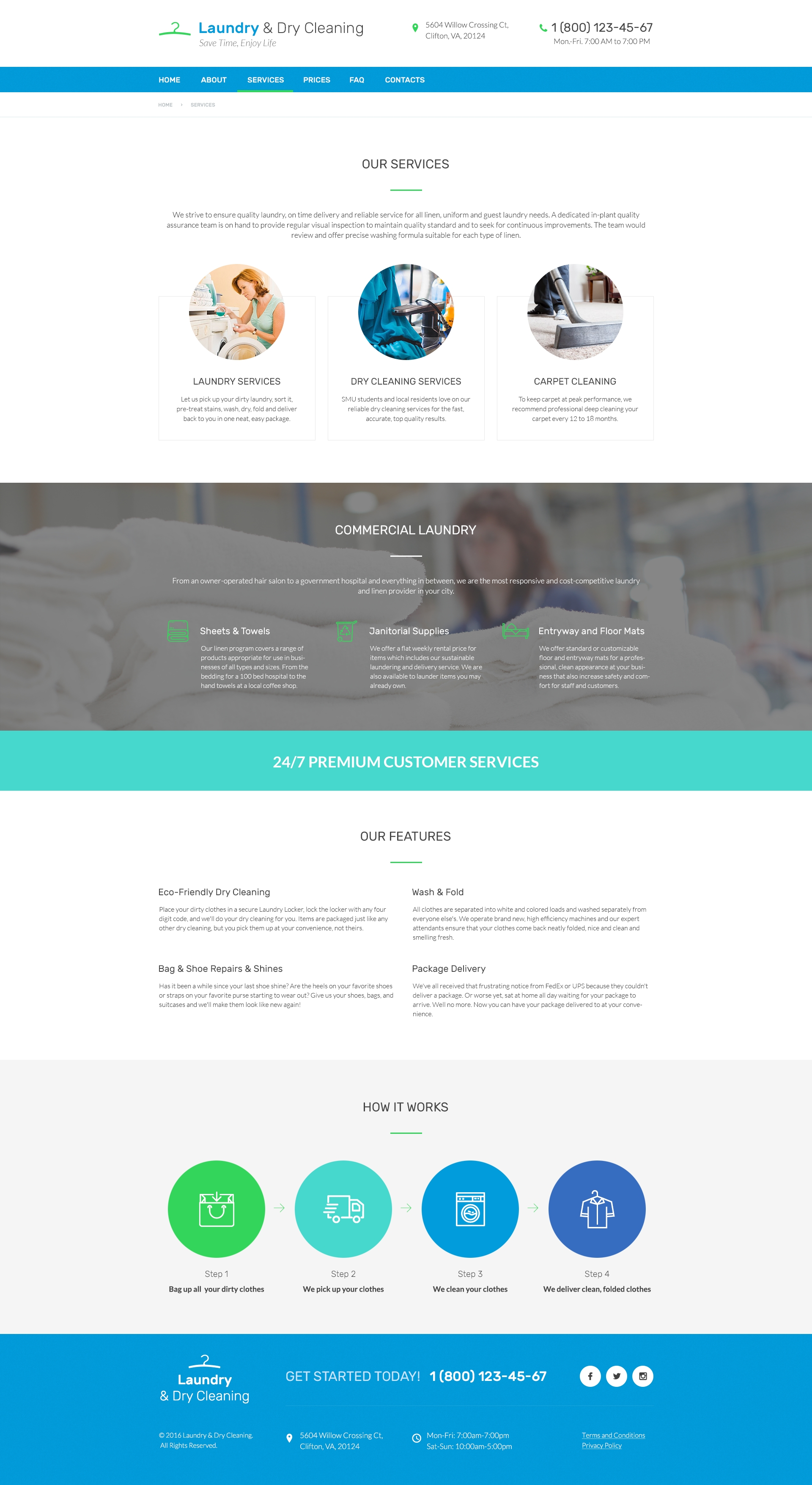 Services Page Preview For Laundry Dry Free Psd Website Template