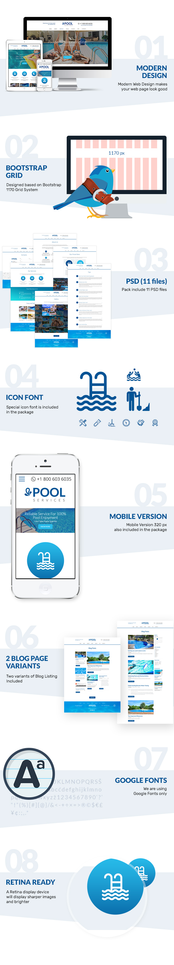 Presentation of Pool Services Free Psd Template features