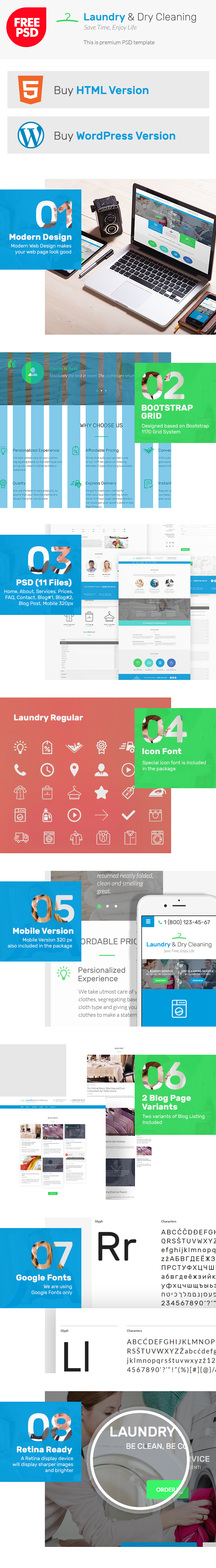 Presentation for free PSD Laundry and Dry Cleaning template