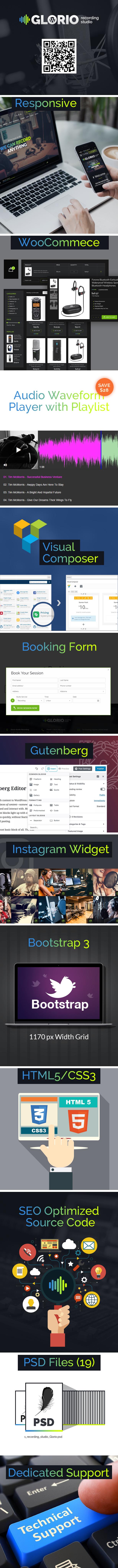 Presentation for GLORIO Recording Studio WordPress Template