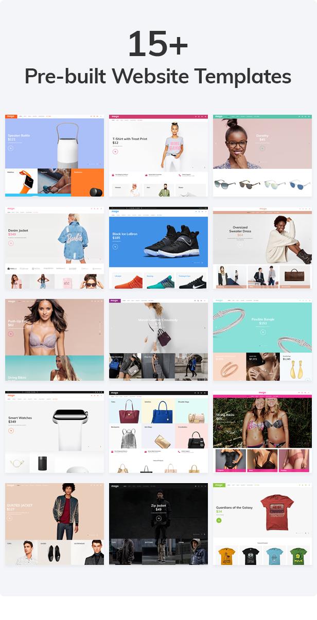 Mogo - 15 pre-built stores. Fashion, electronics, glasses, bags, jewelry, lingerie, t-shirts, apparel